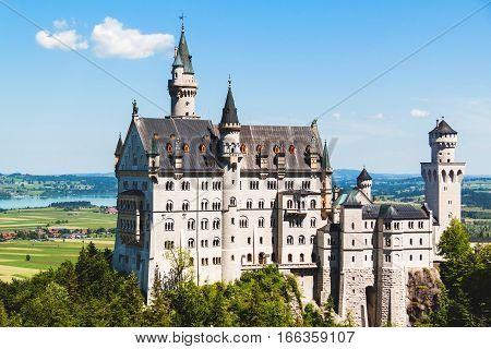 Panoramic View of Neuschwanstein Castle Bavaria Germany