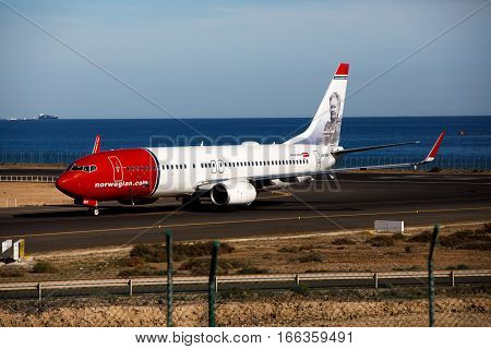 ARECIFE SPAIN - DESEMBER 2. A Boeing 737-800 of Norwegian Air Shuttle at Lanzarote Airport