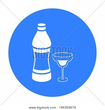 Vermouth icon in blue style isolated on white background. Alcohol symbol vector illustration.