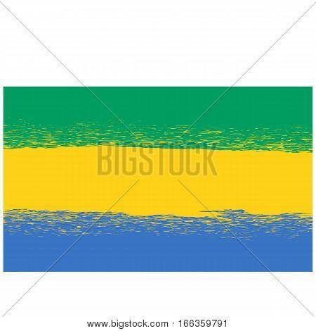Flag of Gabon. Symbol has a Detailed Grunge Texture.