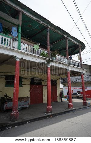 June 9 2016 Colon Panama: many of the colonial buildings of the port town are in decay