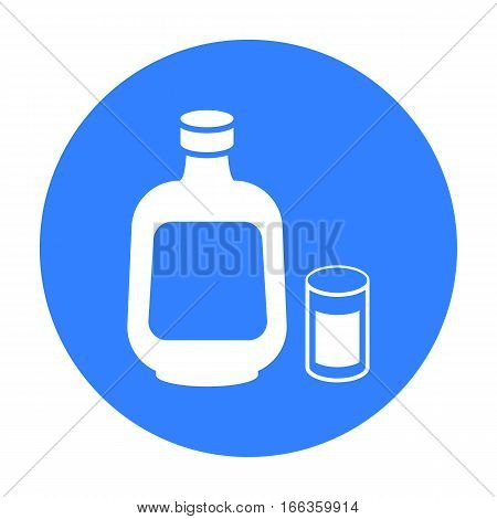 Herbal liqueur icon in blue style isolated on white background. Alcohol symbol vector illustration.