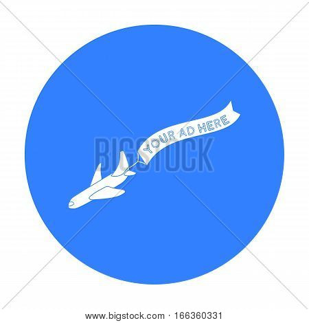 Aerial advertising icon in blue style isolated on white background. Advertising symbol vector illustration.