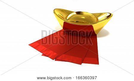 Gold Bullion with Red Envelope 3D Render