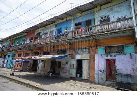 June 9 2016 Colon Panama: colourful but neglected residential houses in the tropical port town