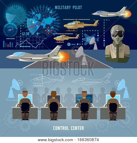 Modern military center banner. Military plane helicopter. Radar screen with planes air force pilot. Modern army technology