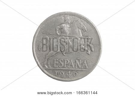 Spanish coin 1940 10 centimos isolated on a background