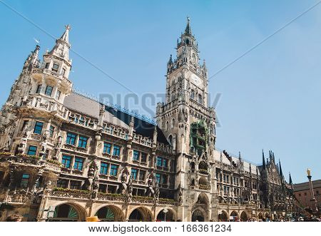 Panoramic view of Marienplatz town hall of Munich Germany
