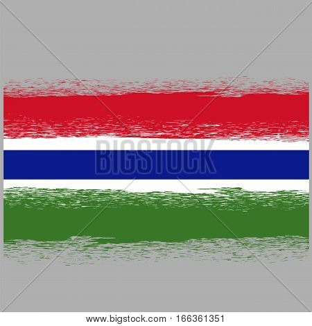 Flag of Gambia. Symbol has a Detailed Grunge Texture.