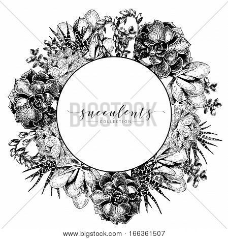 Vector hand drawn succulent wreath. Monocrome engraved vintage style art. Round bodred composition. Botanical illustration. Use for wedding invitation holiday greeting card business promotion.