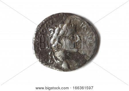 Roman silver denarius isolated on a white background