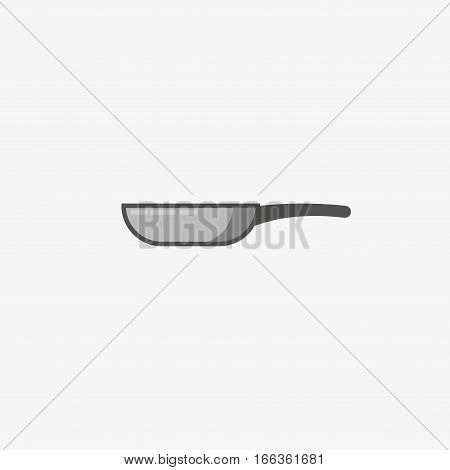Frying pan icon. Vector silhouette icon. Isolated skillet grey illustration. Frying pan logo concept. Pan cooking steel home kitchen equipment