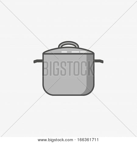 Traditional big saucepan on grey background. For manual cooking only. Kitchen utensils. Stock vector