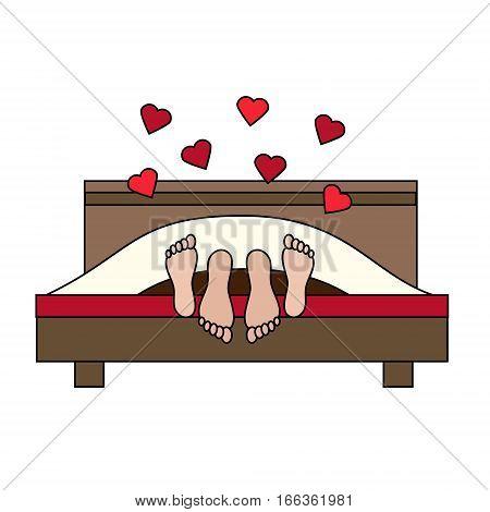 Couple having sex in bed. Family lovers making love. St Valentine's day romantic love honeymoon design element icon. Vector illustration