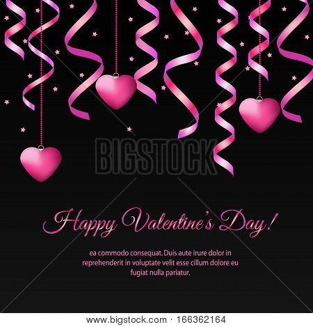 St Valentines day banner with hanging pink streamers and hearts. Design template for party invitation romantic events speed dating social media promotion