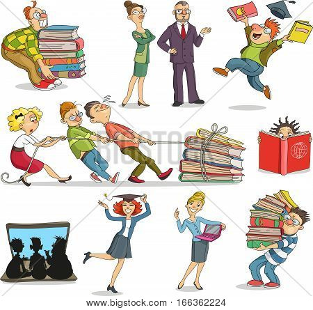 Vector illustration. Cartoon people who are educated learning by using books and computer. Knowledge luggage. Commitment to training. Characters. Isolated objects.