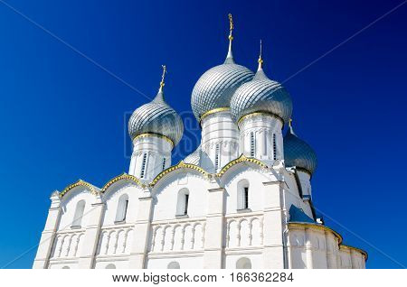 Rostov Kremlin. The Domes of the Assumption Cathedral. Rostov Yaroslavl oblast Russia. Golden Ring of Russia. It is part of the UNESCO World Heritage Site.