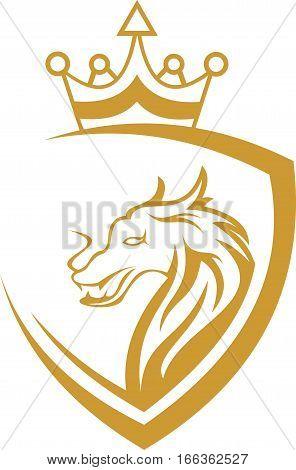 logo illustration lion king animal protection security shield