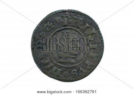 Felipe IV 1663 16 Maravedis spain coin