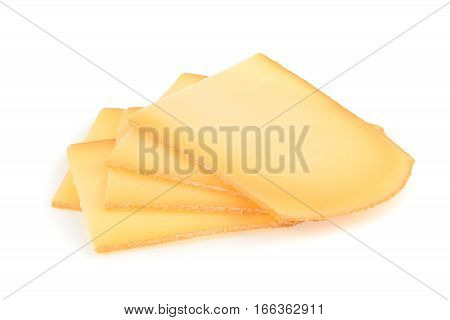 Raclette cheese isolated on white background. close up