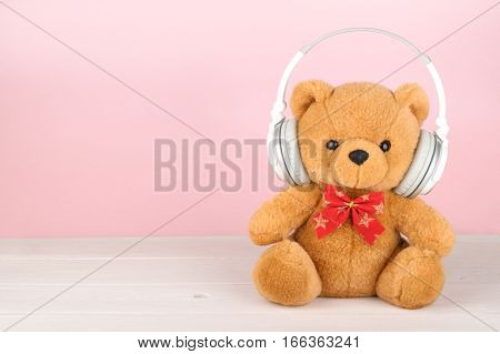Teddy Bear With Headphones With Copy Space