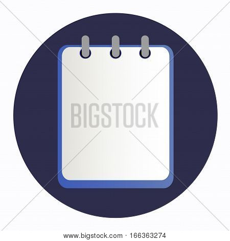 Blue notepad on the rings. Blank sheet on the dark blue background. School business diary.
