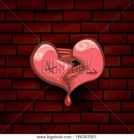 vector cartoon style red broken heart isolated on red brick grunge wall background. vector concept icon of divorce, depression, bad mood, heart disease or unrecognized teen love.