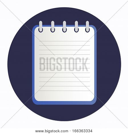 Blue notepad on the rings with lines. Blank sheet on the dark blue background. School business diary.