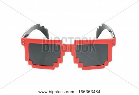 Pixel Glasses Isolated On White. With Clipping Path