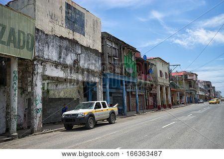 June 9 2016 Colon Panama: the economic decline of the port town is visible on the architecture all through the town