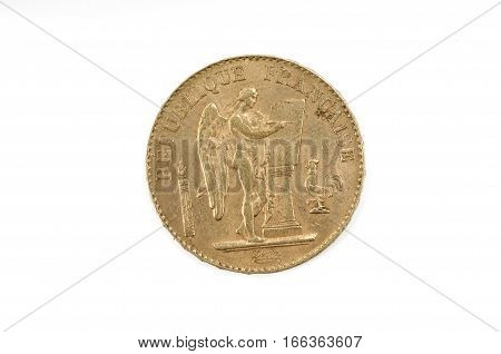Gold coin Republique Française twenty francs isolated on white