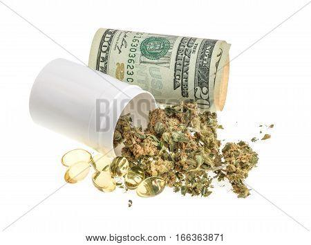 Marijuana And Pills Isolated On White Background