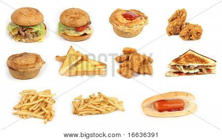 a closeup shot of various food items on white