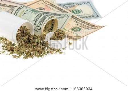 Marijuana and money isolated on white. close up