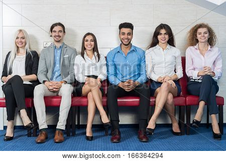 Business People Group Meeting Sitting In Line Queue, Businesspeople Crowd Recruitment Waiting for Job Interview Candidate Office Interior