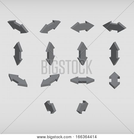 Set Of Isometric Arrows Gray Color.