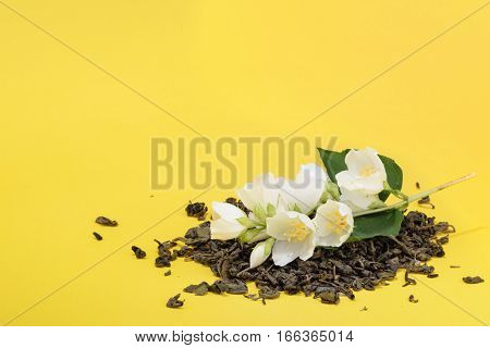 Jasmine Tea With Jasmine Flowers With Copy Space