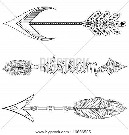 Bohemian Dream Arrows set with feathers for adult coloring pages, art therapy, ethnic patterned t-shirt print, Boho chic tribal style. Doodle Illustration, henna tattoo design.