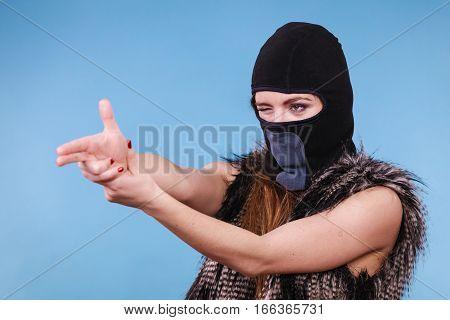 Woman In Balaclava Gun Gesture, Crime And Violence