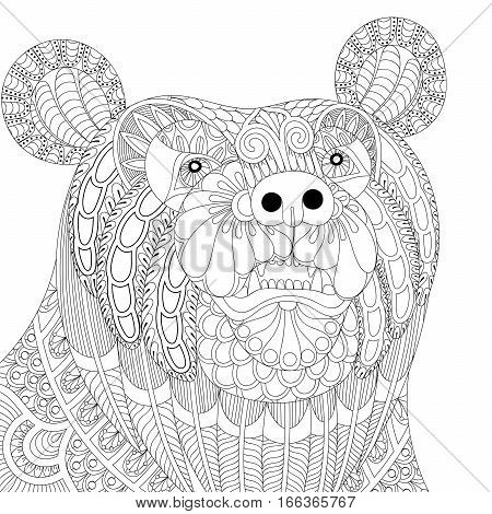 Vector zentangle bear head for adult anti stress coloring pages, book, animal face for art therapy, mascot, tribal tattoo art, greeting card. Hand drawn patterned illustration.