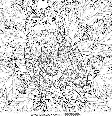 Zentangle Owl painting for adult anti stress coloring page, color book cover. Bird with glasses on fall leaves background for  t-shirt print, postcards.