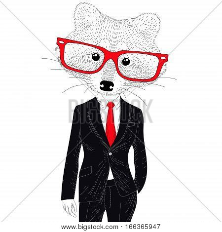 Vector cute cheerful fashion raccoon in suit. Hand drawn hipster anthropomorphic animal with glasses. Illustration for t-shirt print, kids greeting card, invitation for party.
