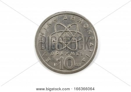 Coin macro 10 Greek Drachma isolated on a background