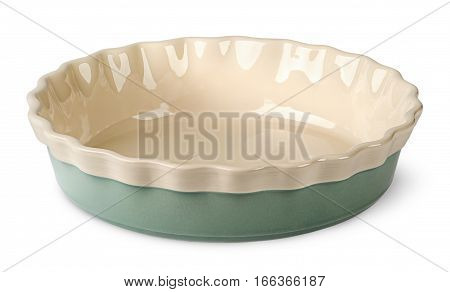 Turquoise and beige ceramic bowl isolated on white background