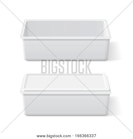 White plastic opened and closed container for margarine, butter, ice cream or cheese on white background 3D illustration. Packaging food box realistic mock up.