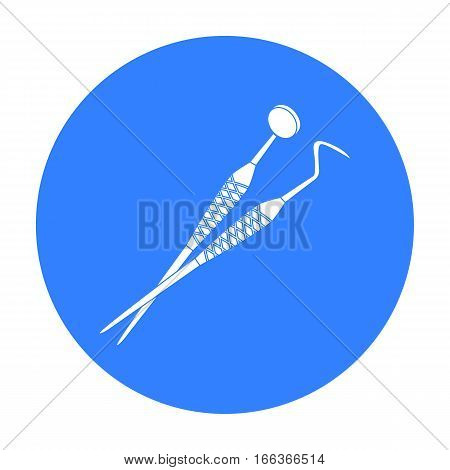 Dental instruments icon in blue style isolated on white background. Dental care symbol vector illustration.