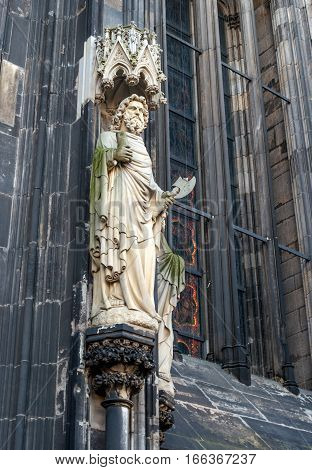 Statues on the Western Facade of the Cologne Cathedral. UNESCO Wold Heritage Site. Photo taken in the morning.