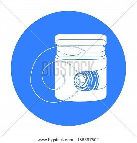 Dental floss icon in blue style isolated on white background. Dental care symbol vector illustration.