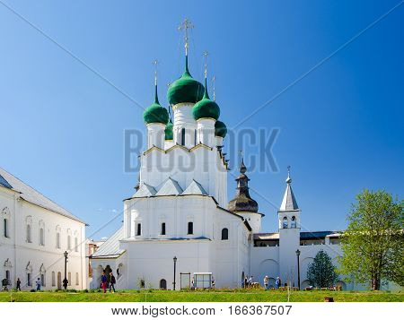 ROSTOV RUSSIA - MAY 3 2016: Church of St. John the Evangelist in the Rostov Kremlin Yaroslavl oblast Russia. Golden Ring of Russia.