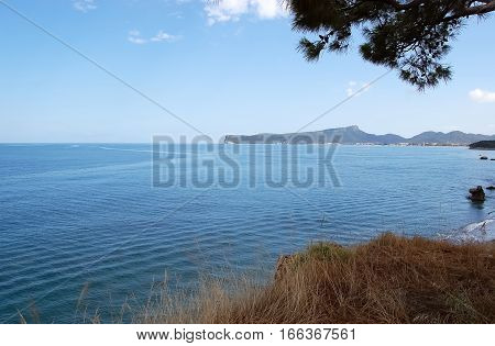View of sea and mountains in sunny day in Kemer Turkey.